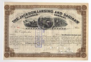 1903 Jackson,  Lansing And Saginaw Railroad Company Stock Certificate photo