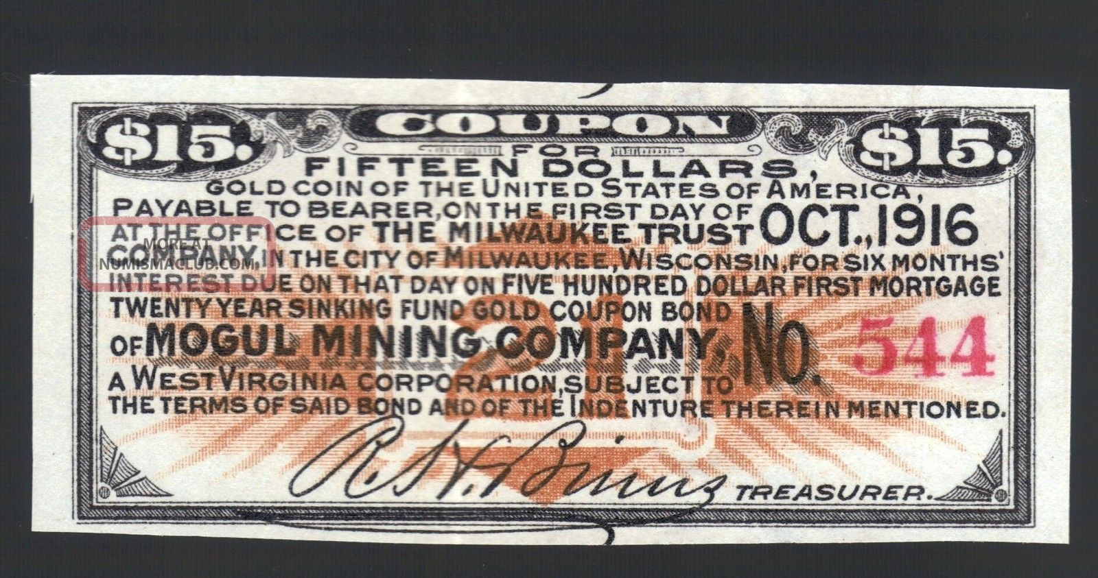 $15 Gold Coin 1916 Mogul Mining Co Usa Wva Wi Gold Bond Old Paper Money Coupon Stocks & Bonds, Scripophily photo