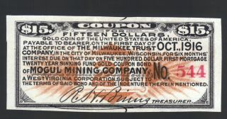 $15 Gold Coin 1916 Mogul Mining Co Usa Wva Wi Gold Bond Old Paper Money Coupon photo