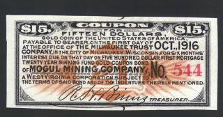 $15 Gold Coin 1916 Mogul Mining Co Usa Wva Wi Gold Bond Old Paper Money Coupon photo