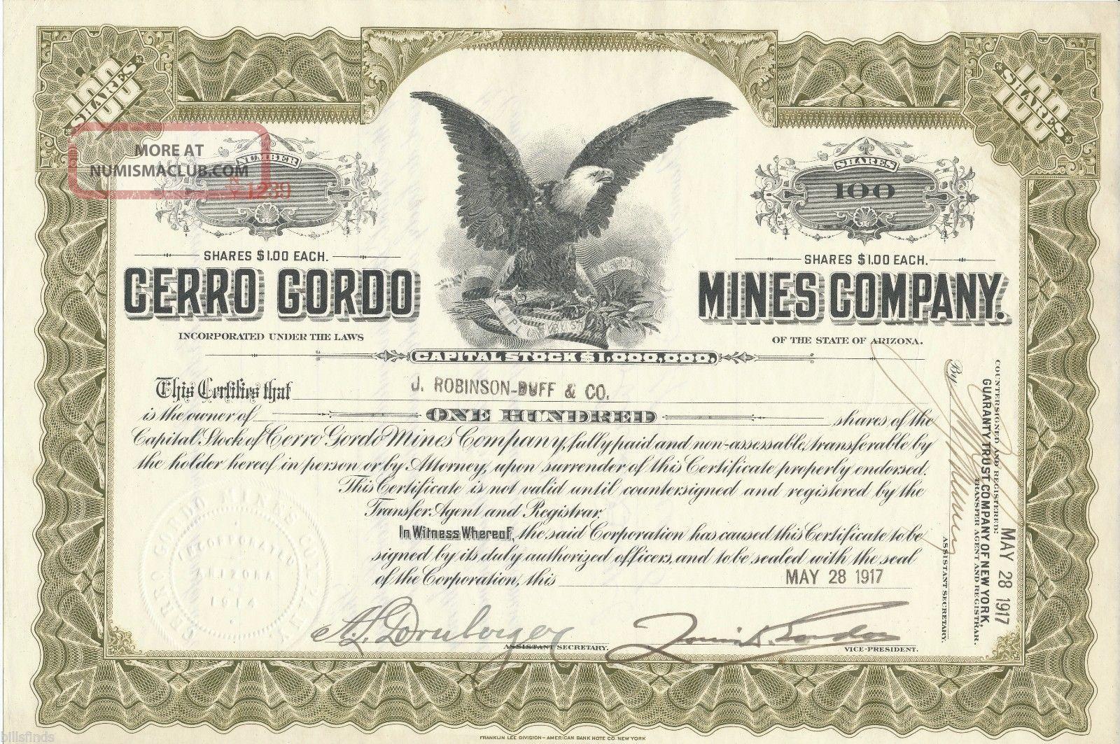 1917 Cerro Gordo Mines Company Stock Certificate Inyo California Silver Mining Stocks & Bonds, Scripophily photo