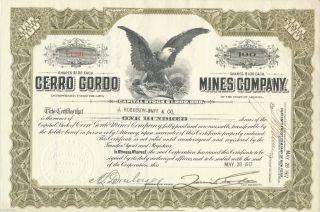 1917 Cerro Gordo Mines Company Stock Certificate Inyo California Silver Mining photo