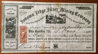 1866 Sonoma Ledge Silver Mining Co.  Stock - $6,  000 Face - Nevada Territory photo