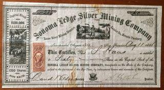 1866 Sonoma Ledge Silver Mining Co.  Stock - $6,  000 Face - Nevada Territory photo