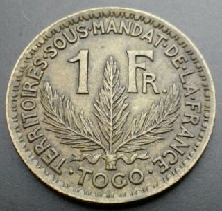 Togo 1 Franc 1924.  Km 2.  One Dollar Coin. photo