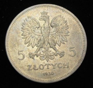 1930 Poland 5 Zlotych Silver Coin Looks Au Y19.  1 Revolution Of 1830 photo