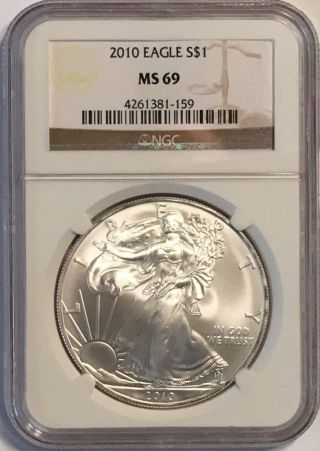 2010 American Silver Eagle Ngc Ms69 photo