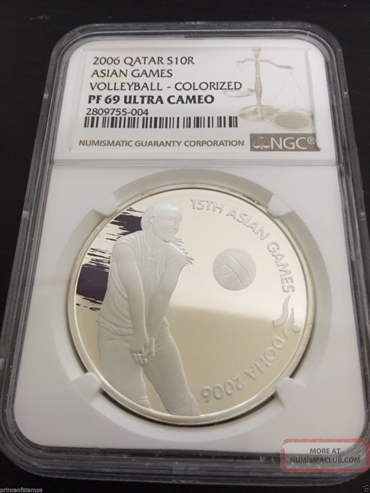 Qatar 2006 Ngc Pf 69 Ultra Cameo 10 Riyal Silver Coin Asian Games Volleyball Middle East photo