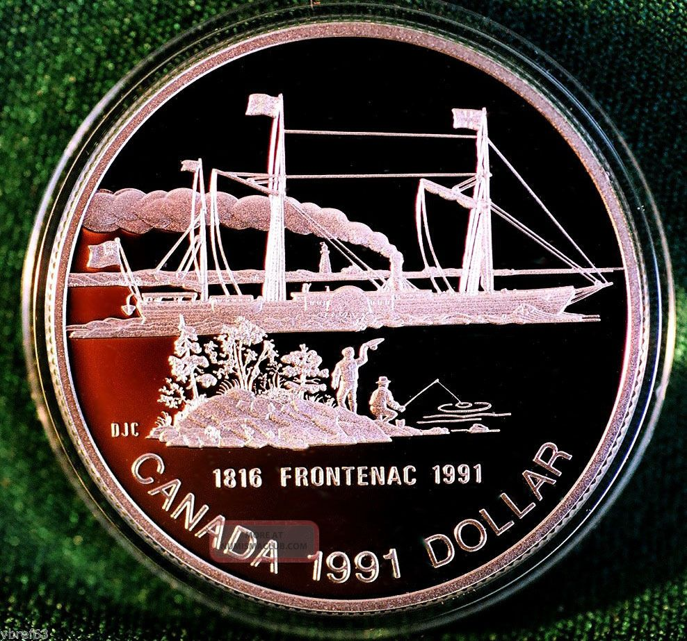1991 Canada Frontenac Steamship 175th Anniversary Silver Dollar Proof Finish Coins: Canada photo