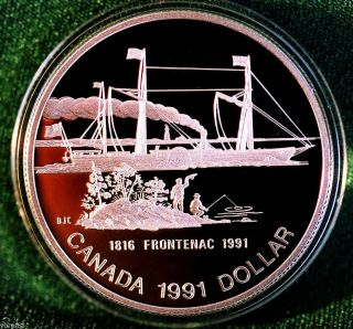 1991 Canada Frontenac Steamship 175th Anniversary Silver Dollar Proof Finish photo