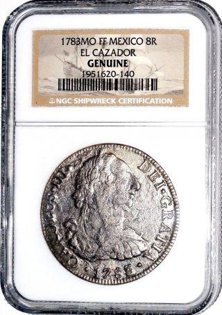 1783 Mo Ff Mexico 8 Reales El Cazador 8r Shipwreck Coin,  Ngc Certified,  Very Good photo