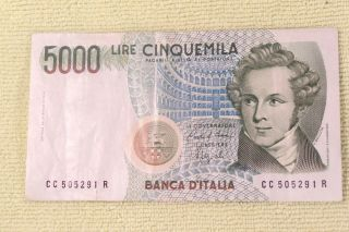 Italian Lire 5000 Note 1985 photo