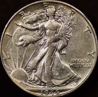 1946s Walking Liberty Half Dollar Almost Uncirculated photo