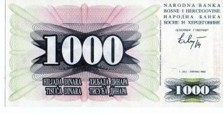 Bosnia 1992 1000 Dinara Currency Unc photo