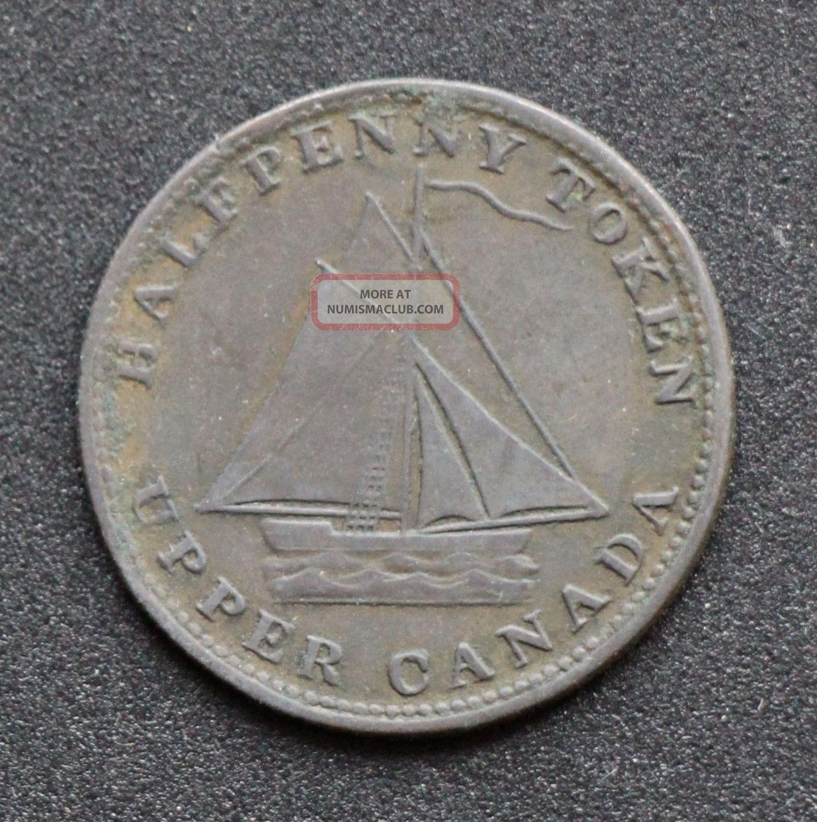Upper Canada Sloop Halfpenny Token Breton Br 727 Ch Uc - 9a3 Coins: Canada photo