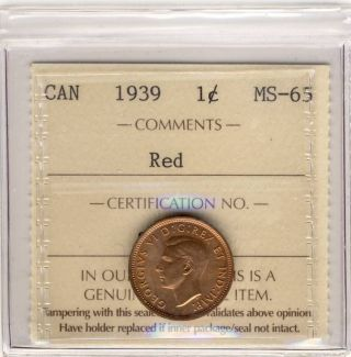 1939 1cent Graded Iccs Sq248 Ms65 Red Gem photo