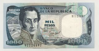 Colombia 1000 Pesos 2 - 10 - 1995 Pick 438 Unc Uncirculated Banknote photo