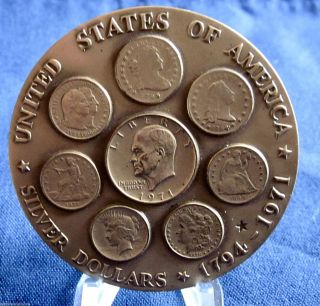 1971 Medallic Art Co.  Ike Eisenhower Bronze Silver Dollar Medal 157 photo