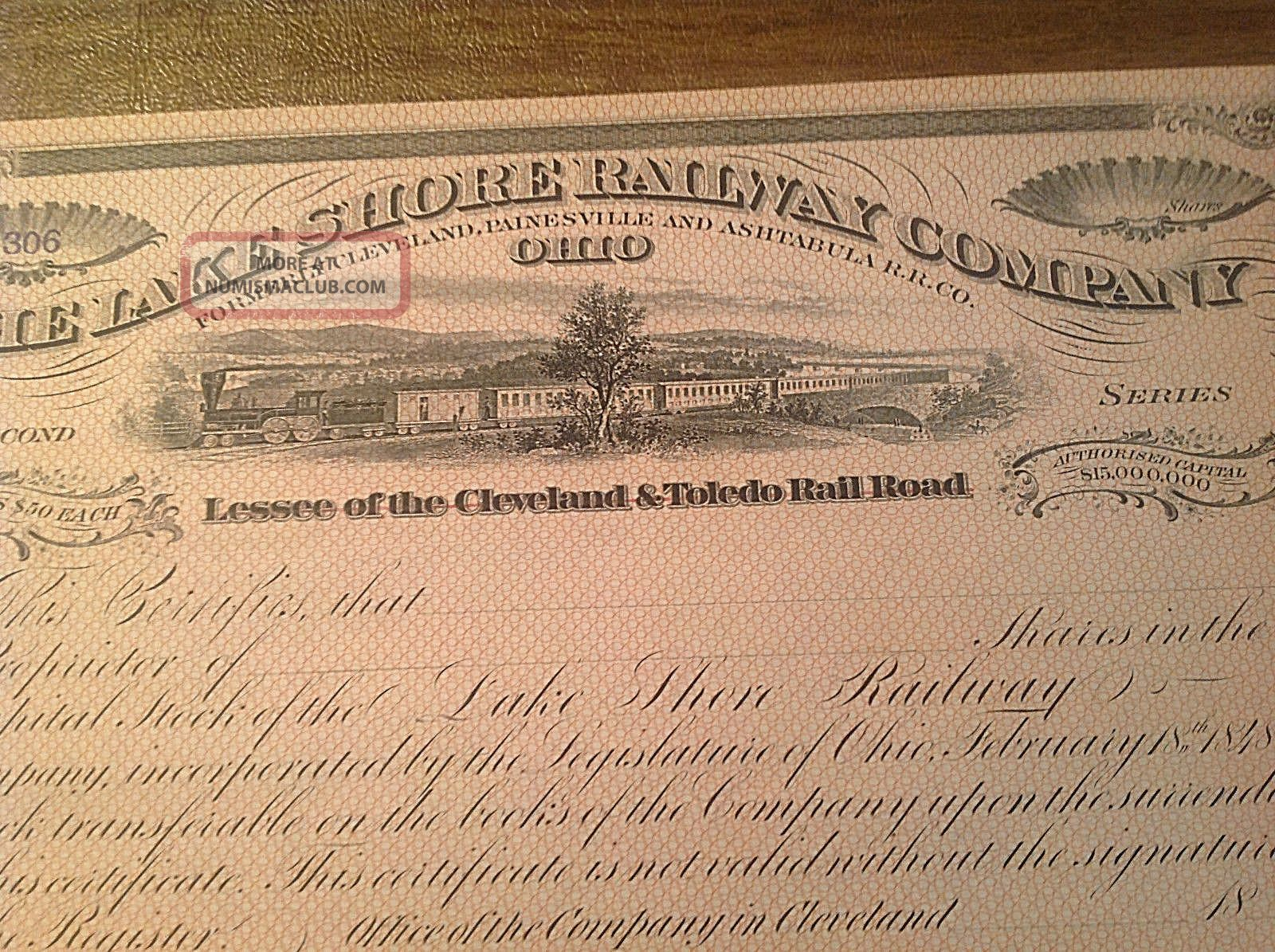 Antique 1800s The Lake Shore Railway Company Signed Stock Certificate Transportation photo