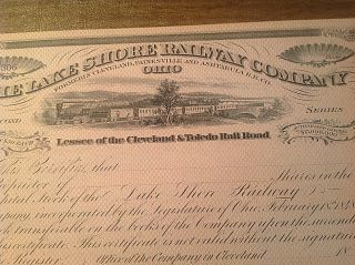 Antique 1800s The Lake Shore Railway Company Signed Stock Certificate photo