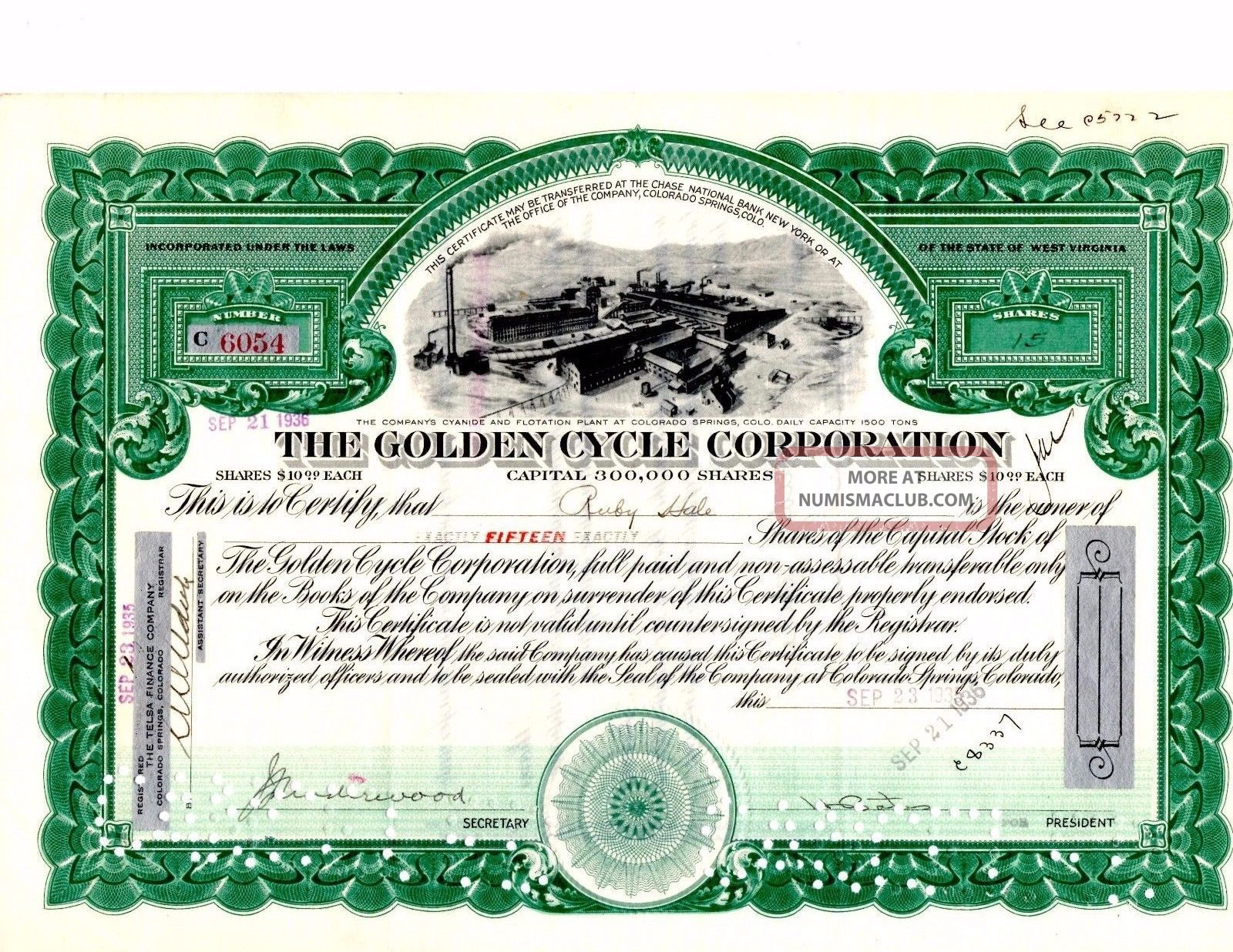 Stock Certificate: Golden Cycle Corporation,  1936 Stocks & Bonds, Scripophily photo