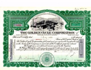 Stock Certificate: Golden Cycle Corporation,  1936 photo