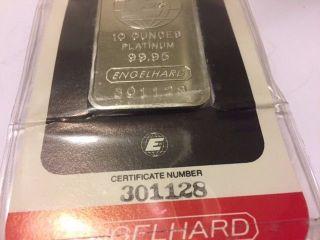 10 Oz Platinum Engelhard Bar.  9995 Pure photo