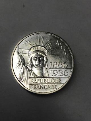 1986 Statue Of Liberty 100 Franc Silver Piedfort Commem 30 Gram.  900 Bullion photo