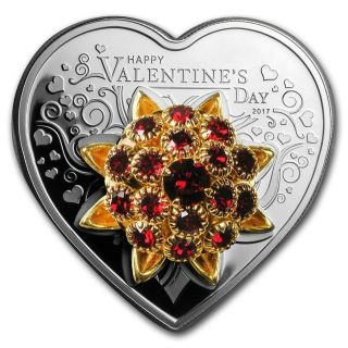 2017 Cook Islands Silver Happy Valentine ' S Day Swarovski Elements Coin photo