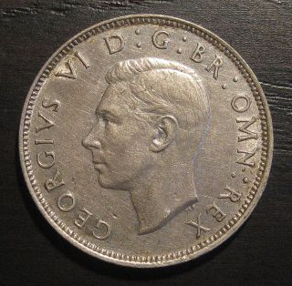 1944 Great Britain Uk Two Shillings.  500 Silver W/ George Vi Foreign Coin photo