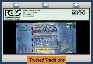 Tt Pk 39a 2008 Samoa 10 Tala Central Bank Pcgs 68 Ppq Gem photo
