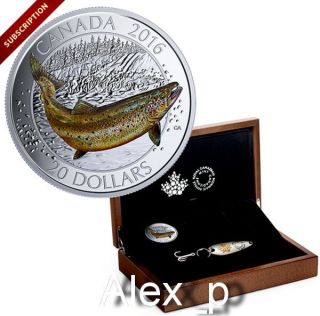 Large Case & Lure With 1 Oz Colorized $20 Fine Silver Coin Atlantic Salmon 2016 photo