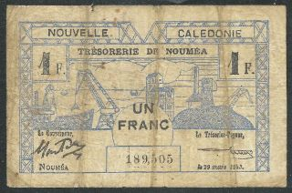 Caledonia1943 One Franc Banknote