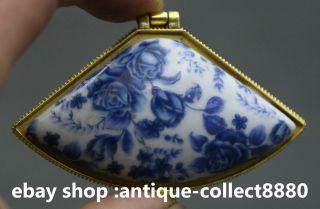 69mm China Blue And White Porcelain Flos Rosae Rugosae Leaf Fashion Jewelry Box photo