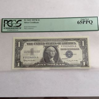 Pcgs 65ppq Fr.  1621 1957 B $1 Silver Certificate Gem photo
