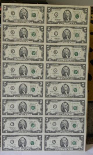 2 Dollar Bill 1995 Series - Uncut Sheet Of 16 photo