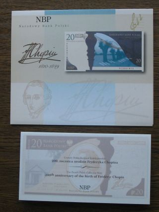 Poland Banknote 20 Zlotych Commemorative Chopin P - 181 Unc,  Folder & Brochure photo