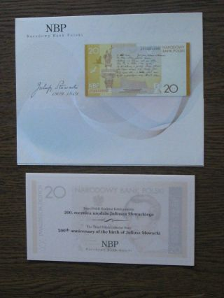 Poland Banknote 20 Zlotych Commemorative Slowacki P - 180 Unc,  Folder & Brochure photo