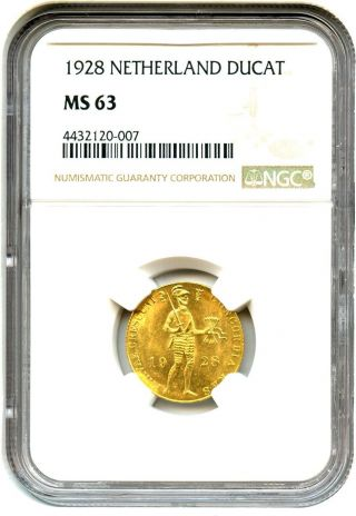 Netherlands: 1928 Gold Ducat Ngc Ms63 (km - 83.  1) -.  1104oz Gold - -.  1104oz Gold photo