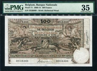 Belgium 1909,  100 Francs,  P71,  Pmg 35 Vf photo