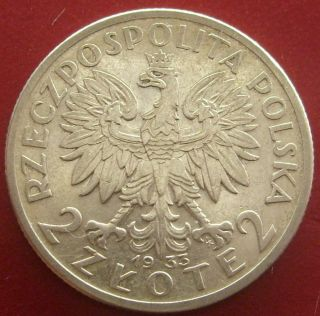 Great Coin 2 Zlote 1933 Polonia Jadwiga Queen Head Silver (pag03) photo