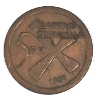 C2076 Katanga Coin,  5 Franc 1961 photo