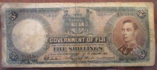 1941 Fiji 5 Shillings Banknote - George Vi - In (f) - Rare British Oceania Note photo