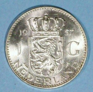 Netherlands 1 Gulden 1957 Brilliant Uncirculated 0.  7200 Silver Coin photo