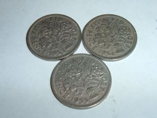 British Elizabeth 11 Lucky [sixpences] Dates 1953/54/55 photo