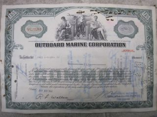 Old Outboard Marine Corporation Stock Certificate photo