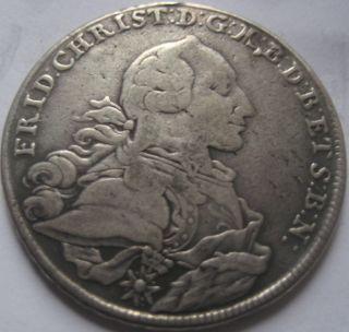 Germany Brandenburg Friedrich Christian Silver Thaler 1766 Bayreuth Patina photo