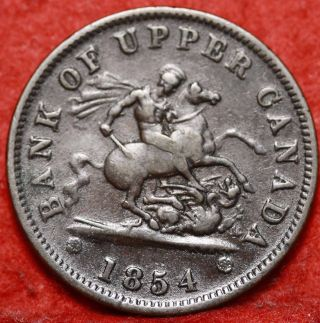 1854 Canada One Penny Bank Token Foreign Coin S/h photo