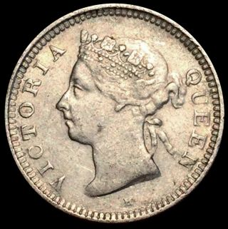 1900 H Silver Hong Kong 5 Cents Queen Victoria Coin Xf / Au photo