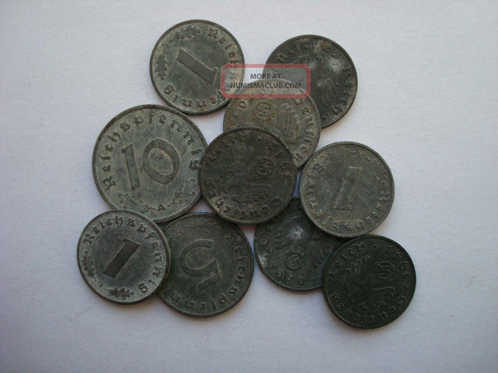 1 5 10 Reichspfennig 1940 - 1944 German Third Reich Zinc Nazi Swastika Rare Third Reich (1933-45) photo